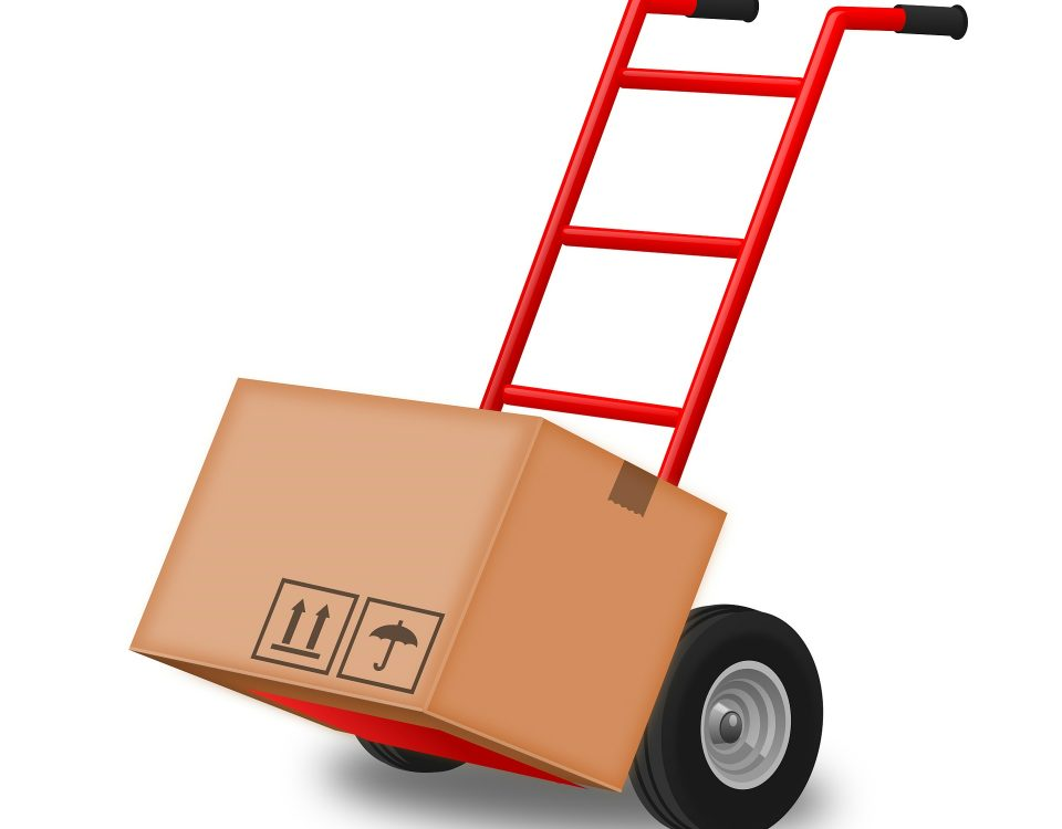 hand truck carrying a package. Representing Transit cases
