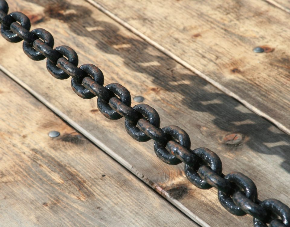 Wood boards and a steel chain.